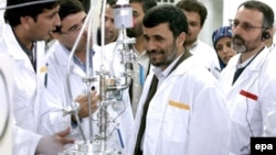 Iranian President Mahmud Ahmadinejad inspects the Natanz enrichment facility in central Iran.