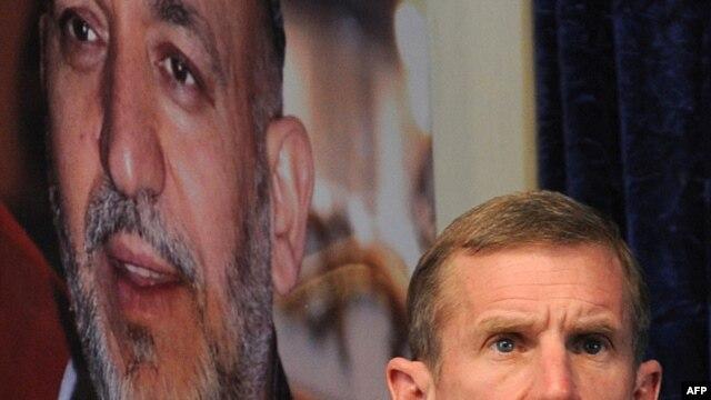 U.S. General Stanley McChrystal speaks in Lashkar Gah, Afghanistan, in February.