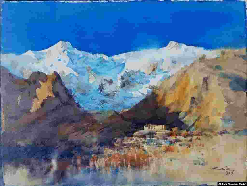 "Titled ""the poetry of Earth"" and showing the immense beauty of a northern valley in Pakistan. ""The contrasts of nature and man-made captured my attention to paint this,"" Sajid says."
