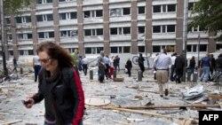После взрыва в Осло у здания правительства Норвегии. 22 июля 2011 г