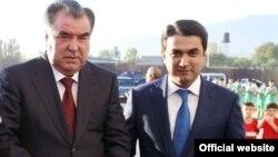 Эмомали Рахмон с сыном Рустамом Эмомали.