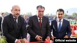 Tajik President Emomali Rahmon (center) with his son Rustami Emomali (left) in December