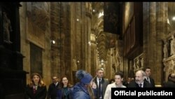 Նիկոլ Փաշինյանը և Աննա Հակոբյանը Միլանի կաթոլիկ տաճարում, Իտալիա, 21-ը նոյեմբերի, 2019թ,