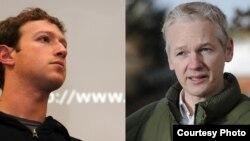 Facebook ijtimoiy tarmog'i asoschisi Mark Zukerberg (chapda) va AQShning minglagan maxfiy hujjatlarini oshkor etgan WikiLeaks sayti asoschisi Julian Assanj.
