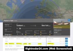 Flightradar24.com сайтынан скриншот.