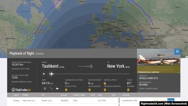 Flightradar24 сайтидан олинган скриншот