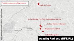 Mapa terorističkih napada u Parizu