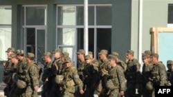 Georgian soldiers returning to their base in Gori this week.