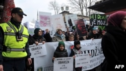 Hundreds of Muslim women wearing the traditional Muslim head scarf known as a hijab protest in Sarajevo on February 7.