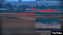 Nagorno-Karabakh - A screenshot of Karabakh Armenian army video that purportedly shows an artillery position in the Azerbaijani village of Alkhanli, 7Jul2017.