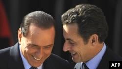 Николя Саркози (справа) и Сильвио Берлускони, Рим, 24 февраля 2009