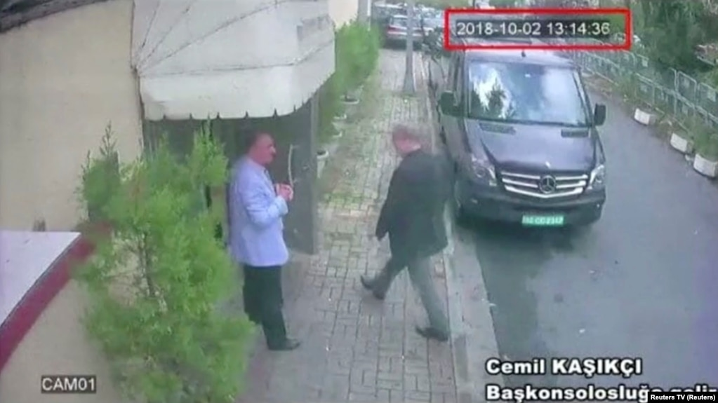 A still image taken from CCTV video show sSaudi journalist Jamal Khashoggi as he enters the Saudi Consulate in Istanbul on October 2.