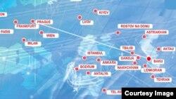 AZAL-ın rəsmi saytından uçuşlar xəritəsi