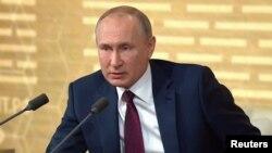 Президент Росії Володимир Путін під час великої щорічної пресконференції, Москва, 19 грудня 2019 року