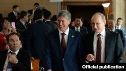 Президенты КР и РФ во время саммита ШОС в Бишкеке, 2013