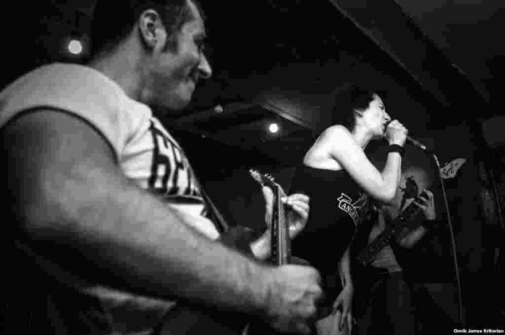 The Russian-Georgian punk band Catalina, formed last year, performs at the Valhalla Bar in Tbilisi's Old Town. It's lead singer, Maria Pronchenko says the band's songs are intended to encourage young people to think for themselves.