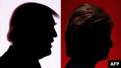 Хиллари Клинтон менен Дональд Трамптын көлөкөлөрү.