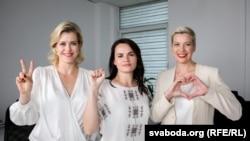 Білоруські опозиціонерки (зліва-направо) Вероніка Цепкало,Світлана Тихановська, Марія Колесникова