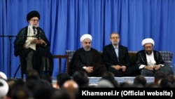 (L to R) Supreme Leader Ali khamenei, President Hassan Rouhani, Parliament Speaker Ali Larijani, and Head of Judiciary Sadegh Larijani. File photo
