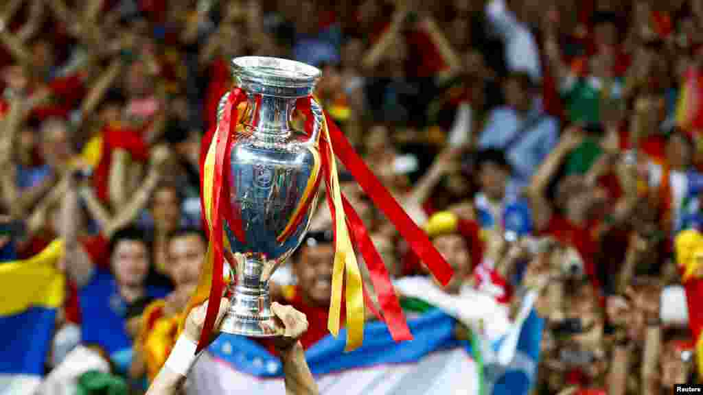 Spain's Fernando Torres lifts up the Euro 2012 trophy.