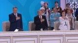 Kazakhstan - Prezident of Kazakhstan Nursultan Nazarbayev listning hymn at Assambly session.Astana.