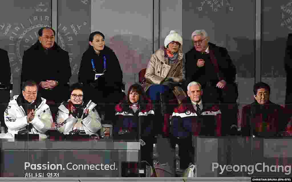 Dignitaries watch the opening ceremony. (left-right front) South Korean President Moon Jae-in and his wife Kim Jung-sook, the U.S. vice president's wife, Karen Pence, U.S. Vice President Mike Pence, Japanese Prime Minister Shinzo Abe, (left-right back) Kim Yong Nam, North Korea's 90-year-old ceremonial head of state, Kim Yo Jong, the sister of North Korean leader Kim Jong Un, the German president's wife, Elke Buedenbender, and German President Frank-Walter Steinmeier.