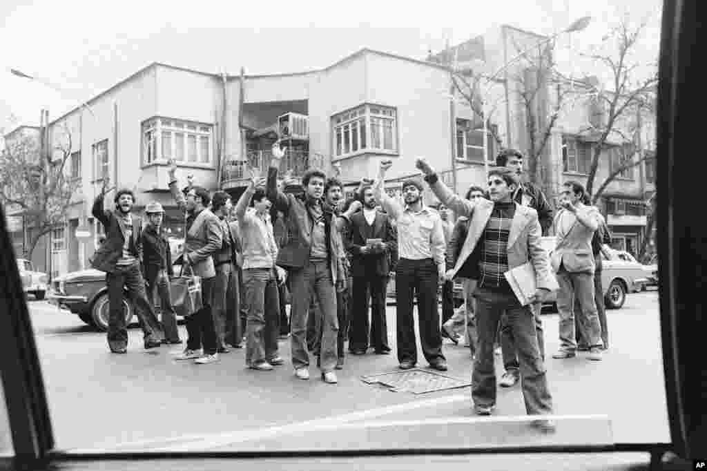 "Iranian students shout ""Death to the Shah"" amid protests in Tehran on November 28, 1978. Mohammad Reza Shah Pahlavi had ruled Iran since 1941. While he modernized the country, he forcefully suppressed dissent and political freedoms."