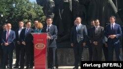 Прес конференција на премиерот Зоран Заев и министрите во Владата по повод една година Влада