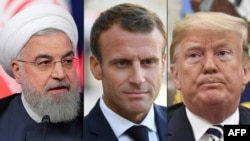 President of Iran Hassan Rouhani (L), French President Emmanuel Macron (C) and Donald Trump. File photos