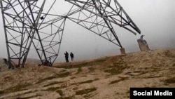 An electric line between Tajikistan and Afghanistan damaged by the Taliban in Baghlan Province on February 11.