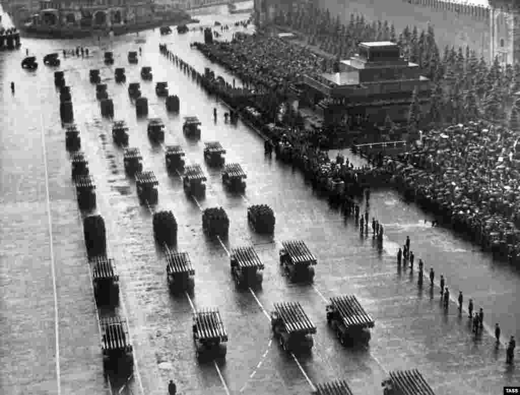 Multiple rocket launchers roll through Red Square in June 1945, weeks after the end of World War II in Europe.