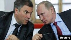 В'ячеслав Володін (ліворуч) і Володимир Путін. Москва, 2011 рік