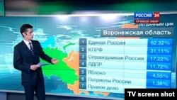 اعلام نتایج انتخابات پارلمان سفلای روسیه، دوما، از تلویزیون. ۴ دسامبر ۲۰۱۱.