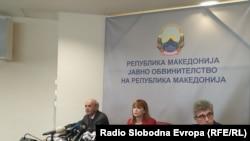 Обвинителите Љубимир Јовески, Вилма Русковска и Бодан Лазаревски на прес конференција, 21.02.2019