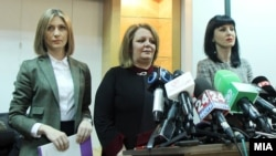 Special Public Prosecution office prosecutors Katica Janeva (left to right), Lence Ristevska, and Fatime Fetai hold a press conference.