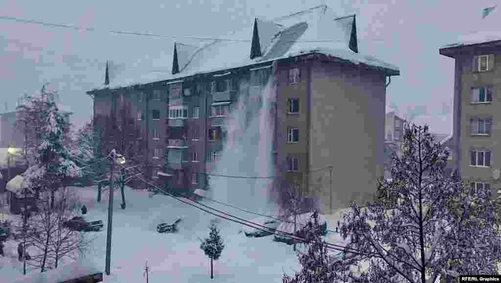 Снег падает с пятиэтажек с особыми крышами, приспособленными для горной местности с большим количеством осадков. Фото Траяна Мустяце