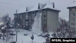 Сніг засипав закарпатське містечко (фотогалерея)