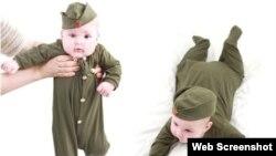 Иллюстрация на сайте онлайн-магазина, продающего детскую одежду цвета хаки.
