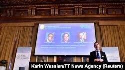 Goran Hansson saopštava dobitnike Nobelove nagrade za ekonomiju, 14.10.19