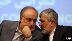 علی اصغر سلطانیه نماینده ایران در آژانس در کنار علی اکبر صالحی، سرپرست وزارت خارجه جمهوری اسلامی ایران