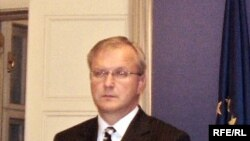 Croatia - European commissioner for enlargement Oli Rehn and Croatian Prime Minister Ivo Sanader, 12Nov2008