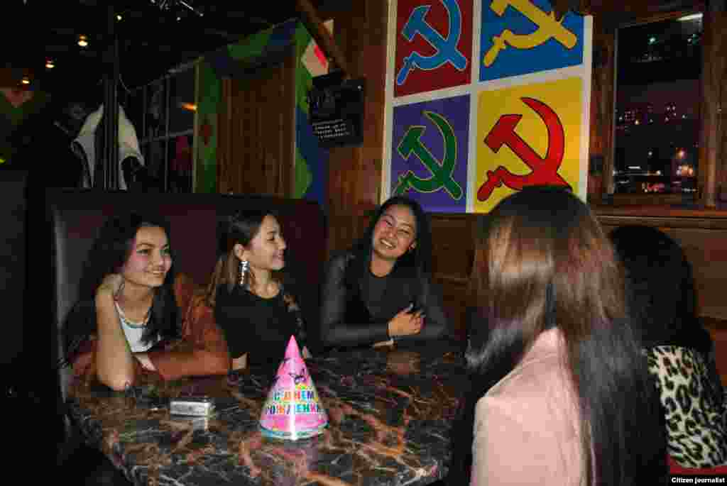 A birthday celebration in a Soviet-themed restaurant.