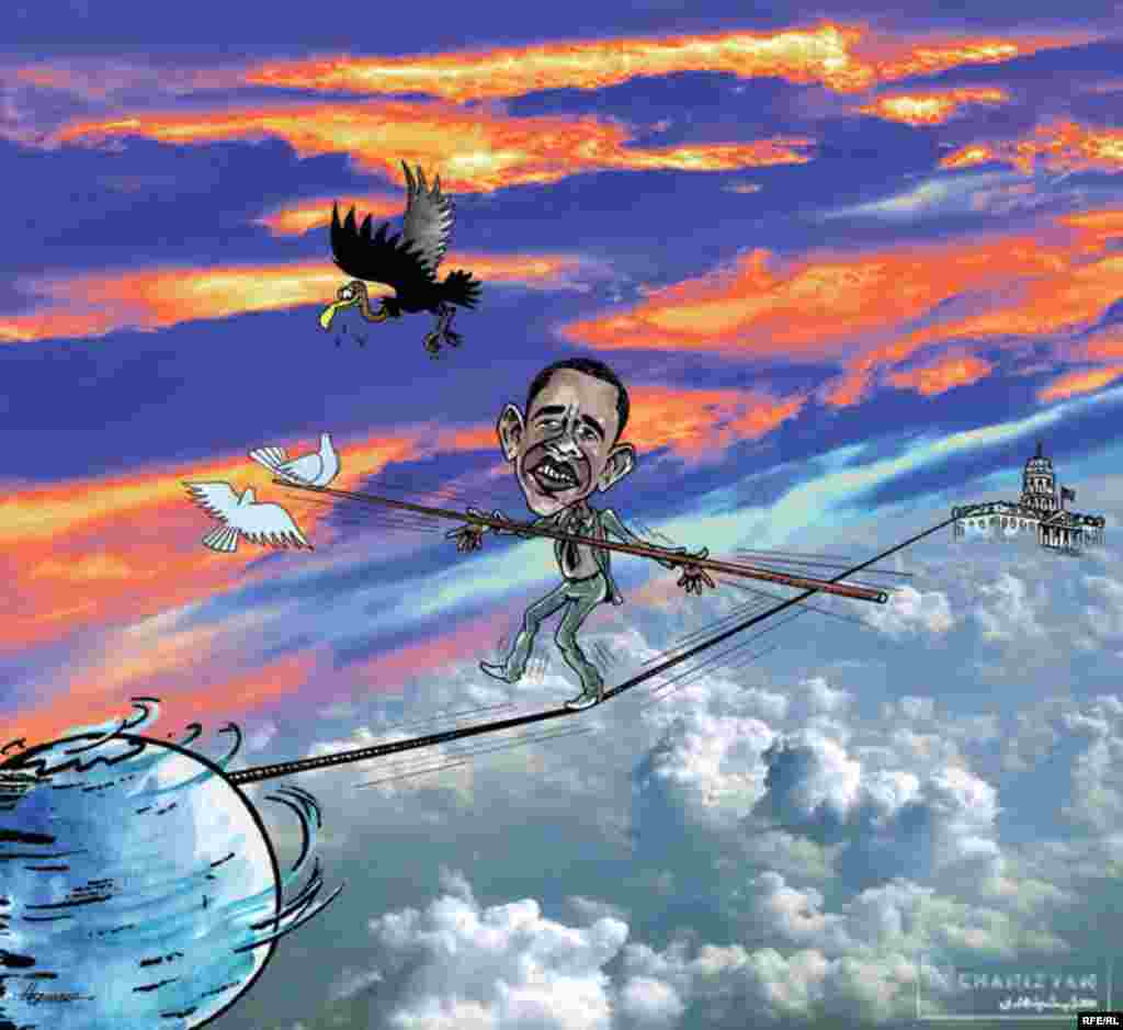 Turning his sight beyond the region, the cartoonist imagines Barack Obama barely managing an impossible task.