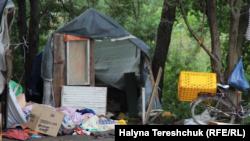 Лагерь цыган возле села Сокольники в Львовской области после нападения