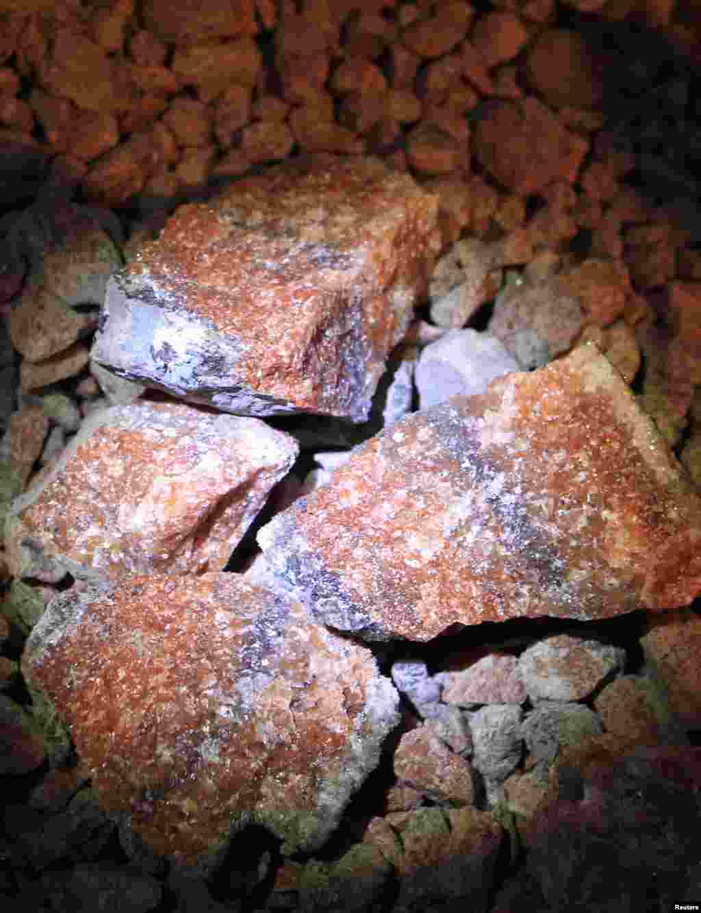 Unprocessed potassium salts in a Uralkali potash mine