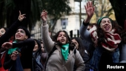 Акция в поддержку легализации абортов в Буэнос-Айресе, 13 июня 2018 года