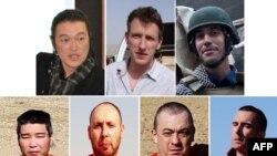 """Журналисты и гуманитарные работники из США, Великобритании и Японии, убитые членом ИГ, известным как """"джихадист Джон""""."""