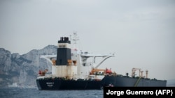 The supertanker Grace 1 is shown off the coast of Gibraltar on July 6.