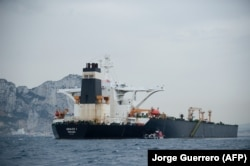 The Grace 1 is seen off the coast of Gibraltar on July 6.