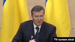 ویکتور یانوکوویچ در نشست خبری خود در شهر روستوف روسیه